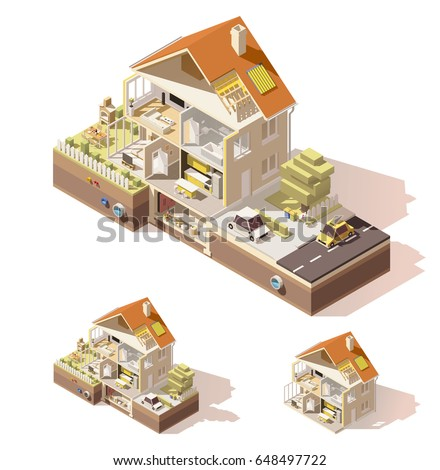 Vector isometric low poly house cutaway