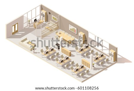 vector isometric low poly office