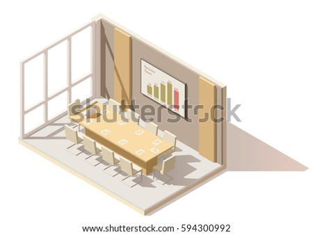Vector isometric low poly office conference room. Includes table, office chairs, projector screen with presentation charts