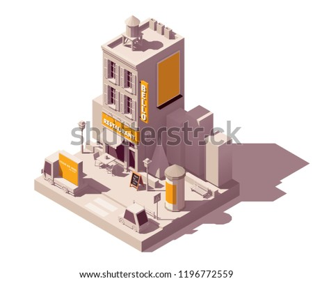 Vector isometric low poly outdoor advertising media types and locations illustration representing street ads - mobile ad on the truck, neon signage, billboard and advertising column