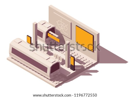 Vector isometric low poly outdoor advertising media types and placement locations illustration. Advertising in metropolitan. Includes subway or metro station, train, billboard, citylight and kiosk