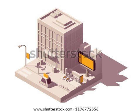 Vector isometric low poly outdoor advertising media types and placement locations illustration representing street advert - billboard, taxi, bike sharing system advertising citylight, lamp post banner
