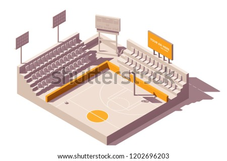 Vector isometric low poly outdoor advertising media types and placement locations illustration representing billboard and poster advertising on stadiums or sports venue