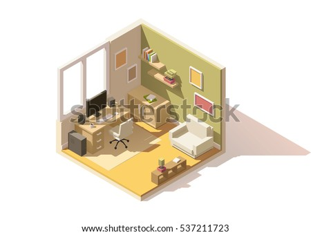 vector isometric low poly room