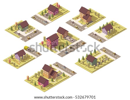 Vector isometric low poly suburban buildings and cottages