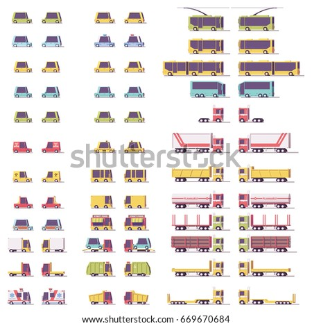 Vector isometric low poly transports set. Cars, trucks and buses