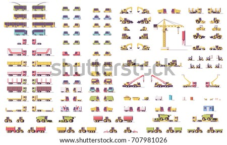 Vector isometric low poly transports set. Cars, trucks, buses, construction and agricultural vehicles