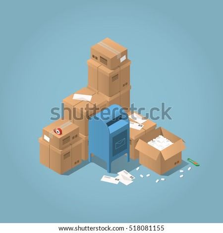 Vector isometric mail delivery concept illustration. Stacks of parcel boxes of different sizes, letters, mail office box, open box, adhesive tape and paper knife.
