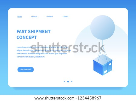 Vector isometric mail delivery illustration. Cardboard box are delivered by flying balloon. Landing page concept