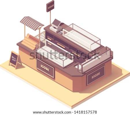 Vector isometric mall retail kiosk or retail merchandising unit. Showcases, cash register, credit card payment terminal