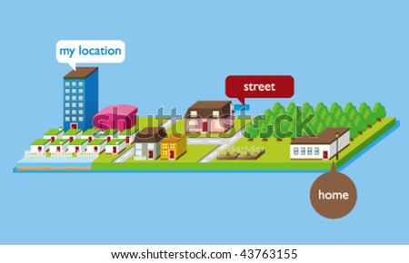 Vector Isometric Map -- 3D Illustration