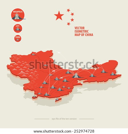 vector isometric map of china