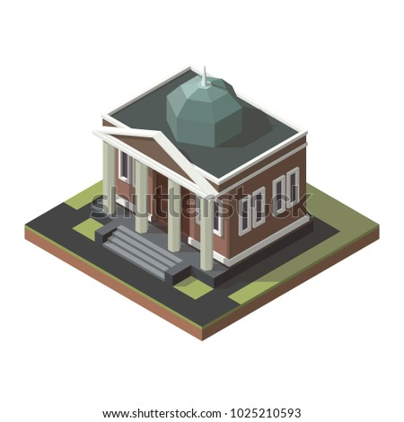 Vector isometric mayoralty, city hall, town hall, city administration. City bank illustration.