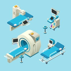 Vector isometric medical diagnostic equipment set. 3d illustration computer tomography ct, magnetic resonance imaging, mri scanning, ultrasound machine, x-ray machine radiology scan, hospital gurney
