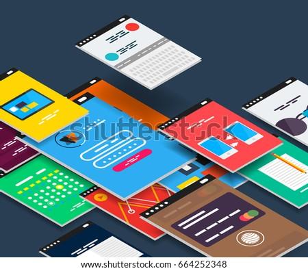 vector isometric mobile app ui