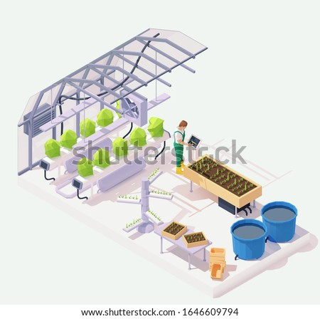 Vector isometric modern agricultural greenhouse cross-section illustration. Hydroponics and aeroponics process of growing plants, smart garden beds, pond, farmer operating smart greenhouse system ストックフォト ©