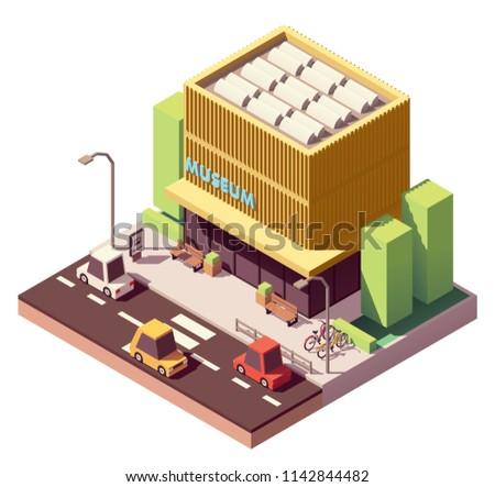 Vector isometric modern museum building with bicycle parking