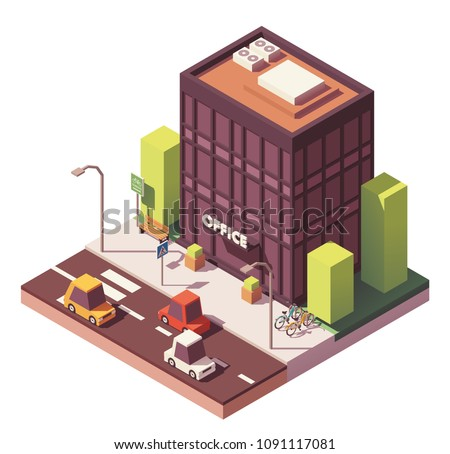 Vector isometric modern office building with bicycle parking rack