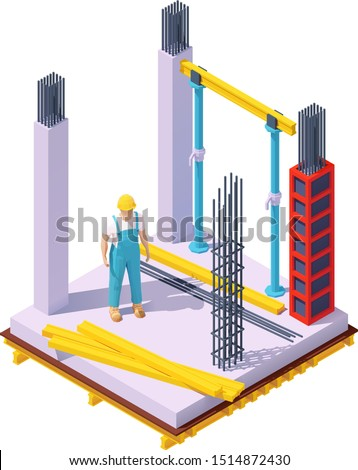 Vector isometric monolithic concrete building construction site. Concrete formwork, columns, builder in hardhat, wooden floor beams, steel bars for reinforcement