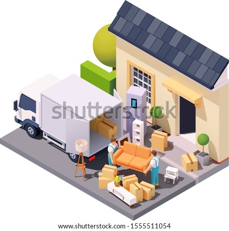 Vector isometric moving service workers or movers carrying sofa in front of house. Porters moving furniture and cardboard boxes at new home. Relocation or delivery service illustration Сток-фото ©