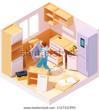 Vector isometric new kitchen furniture set assembling and installation. Handyman or carpenter working on kitchen cabinets and drawers. Man installing kitchen sink