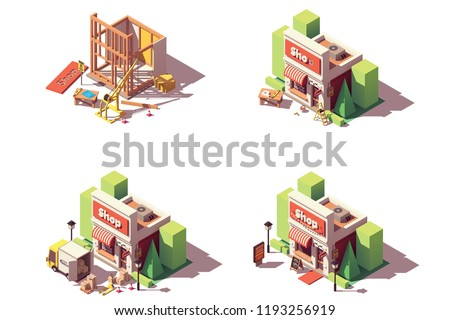 Vector isometric new shop or store opening icon set, includes shop construction, branding and decoration, goods and supplies delivery by truck and grand opening of the store icons