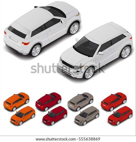 Vector isometric off-road transport. Car symbol . Sport car coupe automobile
