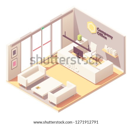Vector isometric office lobby front desk or reception desk interior. Automatic glass doors, reception counter with receptionist workplace, sofa and armchairs for visitors