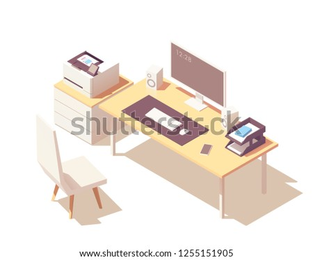 Vector isometric office room cross-section with desk, document organizer, desktop pc, chair, printer and robotic vacuum cleaner