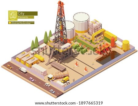 Vector isometric oil and gas land drilling rig. Oil land rig drilling wells for petroleum production or extraction. Isometric city map elements