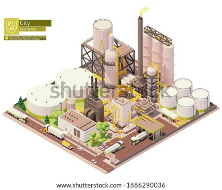 Vector isometric oil refinery plant with tankers for crude oil, processing facilities and petroleum storage tanks. Petrochemical plant infrastructure Stockfoto ©