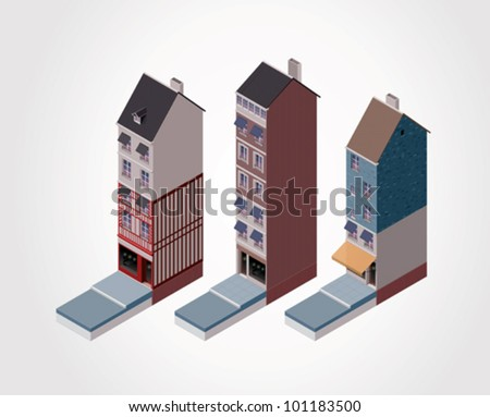 Vector isometric old buildings. Part 1 - stock vector