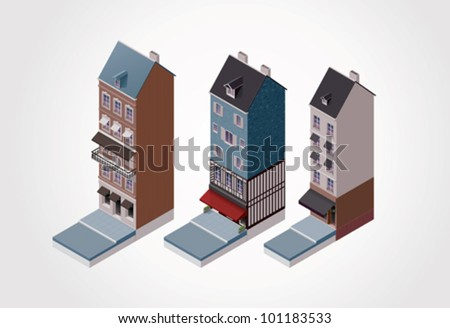 Vector isometric old French buildings. Part 2