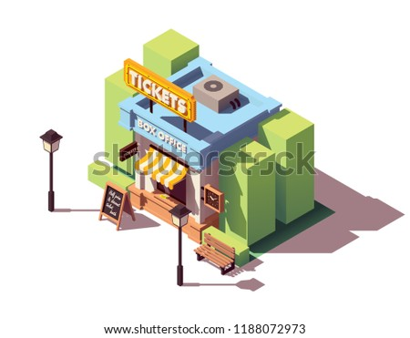 Vector isometric old ticket office or box office building with neon sign