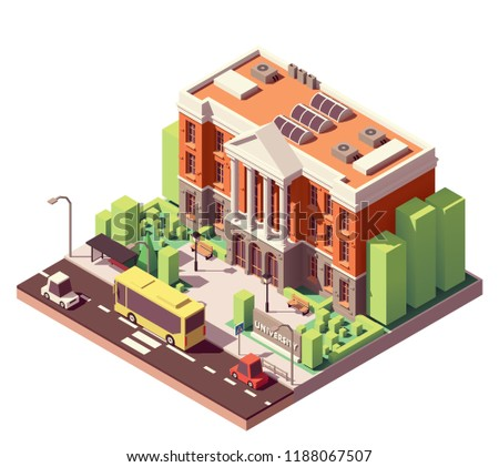 Vector isometric old university or college building
