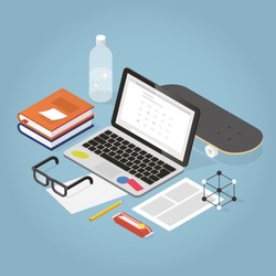 Vector isometric online exam concept illustration. Laptop, books with note, glasses, bottle of water, pencil, papers, candy bar and skateboard.