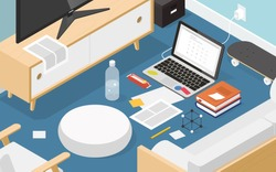Vector isometric online exam concept illustration. Laptop on the floor of living room with books, notes, glasses, bottle of water, pencil, papers, candy bar and skateboard.