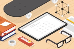 Vector isometric online exam concept illustration. Tablet, books with note, glasses, pencil, papers, candy bar and skateboard.