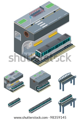 Vector isometric Paris metropolitan icon set. Included underground train, station and route cross section, bridge