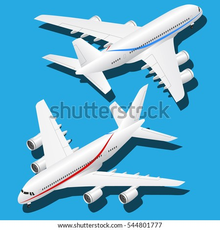Vector isometric passenger plane with stripes. Plane icon , aircraft , isolated