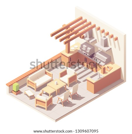 Vector isometric pergola over patio space with outdoor wooden furniture - table, chairs, umbrella and barbecue grill