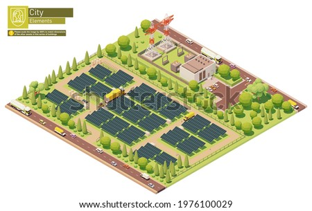 Vector isometric photovoltaic solar energy plant. Solar power plant construction. Solar farm or station workers installing photovoltaic panel modules