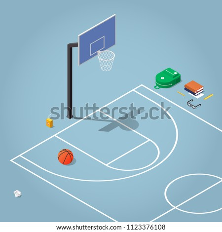 Vector isometric physical education illustration. Basketball court with hoop and ball, there are also school backpack, books, glasses, stationery and pack of juice. Sports after school concept.