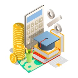 Vector isometric pile of books with graduation hat on dollar banknotes, calculator, stack of coins, percentage sign. Student loan interest rates concept.