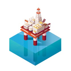 Vector Isometric platform for production oil and gas. Flat illustration with offshore oil platform in the ocean. High quality Oil Platform Icon for infographic element.