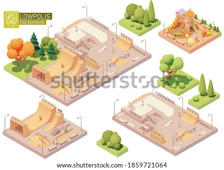Vector isometric playground and skatepark. Modern colorful wooden children playground. Concrete and wooden skatepark for skateboarding. Isometric city or town map construction elements