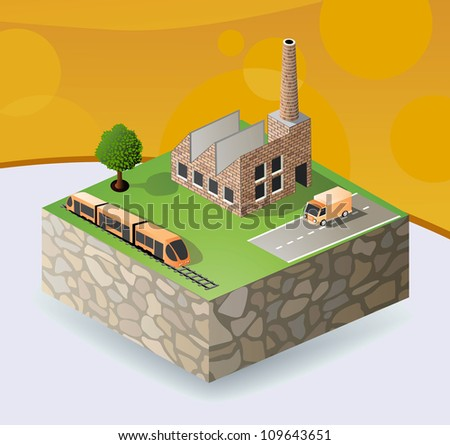 Vector isometric portion of the landscape with factories