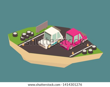Vector isometric racing car on the race track