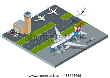 Vector Isometric representing airport, jet airplane, ground support vehicles and equipment. Aircraft runway airline, pilot, stewardess, airport terminal, baggage, international airlines