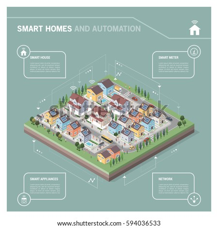 Vector isometric residential area with houses, people, streets and vehicles: smart homes and connectivity concept infographic